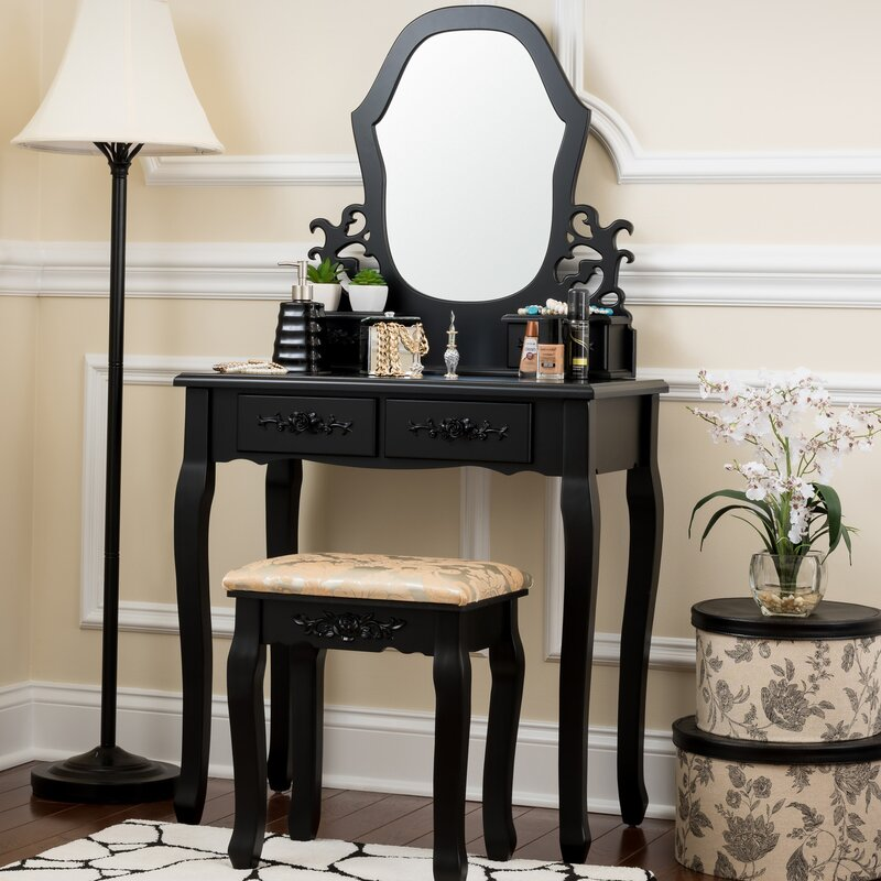 Fleur De Lis Living Demello Antique Vanity Set with Mirror Reviews