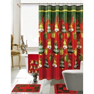 Christmas Bathroom Decor 18 Piece Red Green Shower Curtain Set