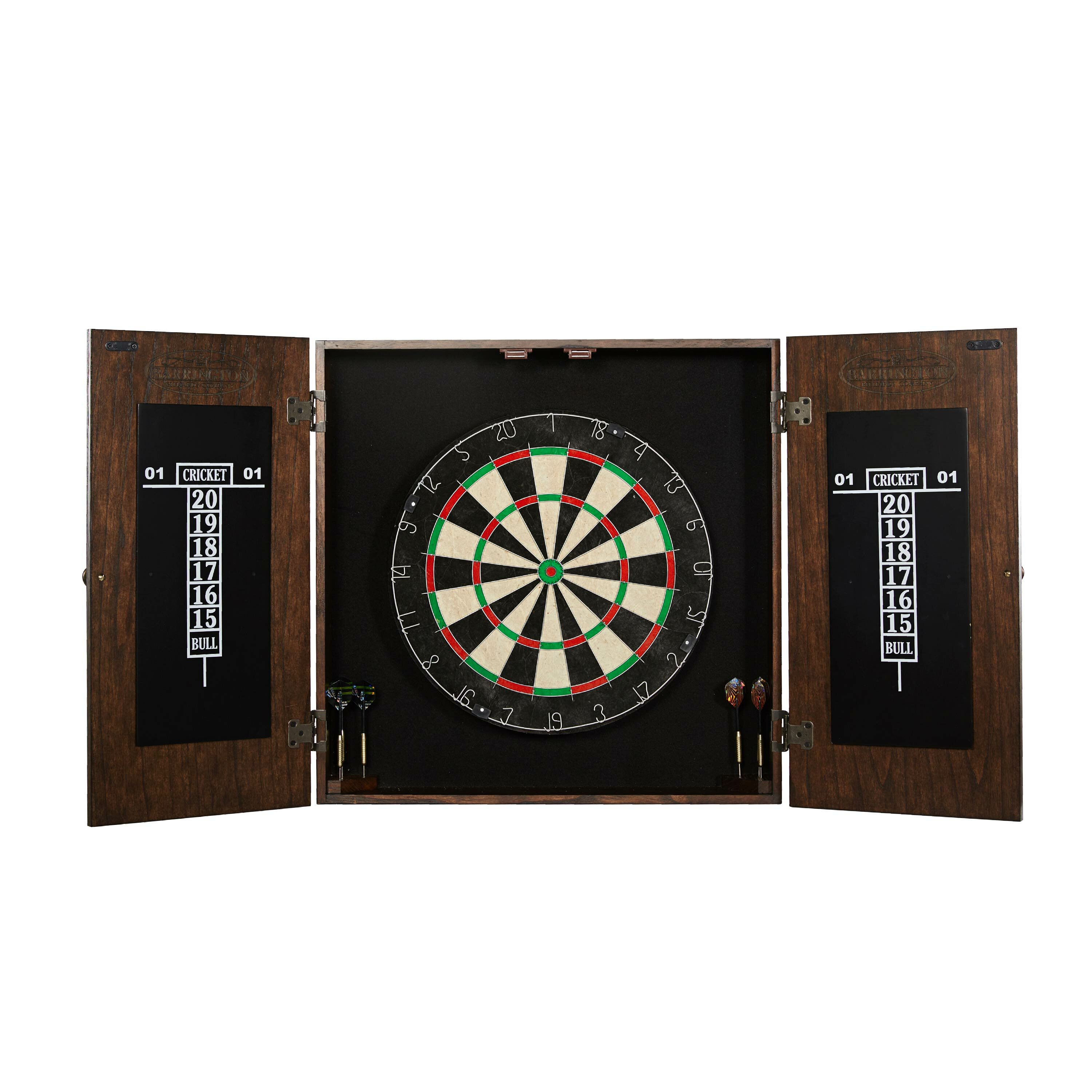 Barrington Billiards Company Webster Dartboard And Cabinet Set