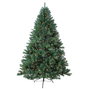8' Green Woodruff Spruce Artificial Christmas Tree with 750 Warm Lights and Metal Stand