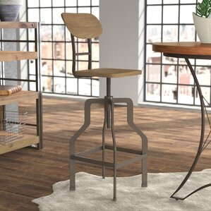 Rhodes Adjustable Height Industrial Bar Stool by 17 Stories