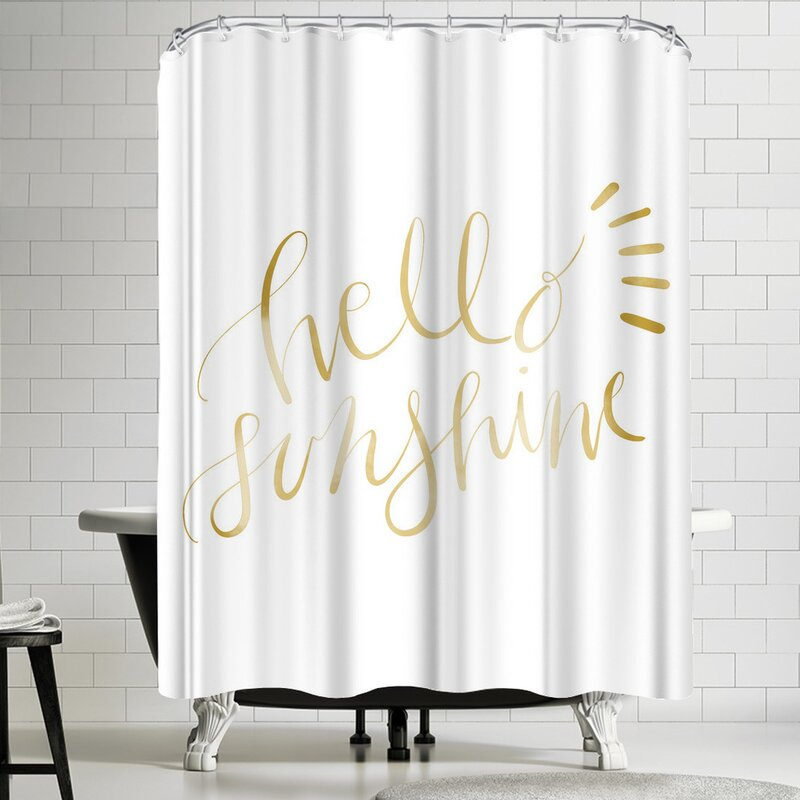Jetty Printables Gold Hello Sunshine Typography Shower Curtain