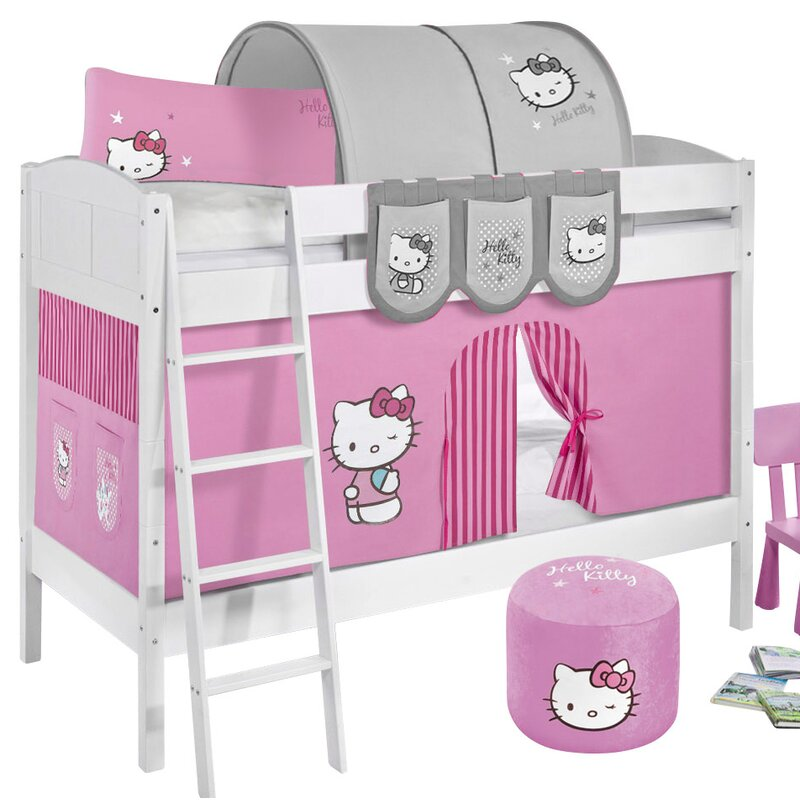 Lilokids Hello Kitty European Single Bunk Bed With Bottom Bunk