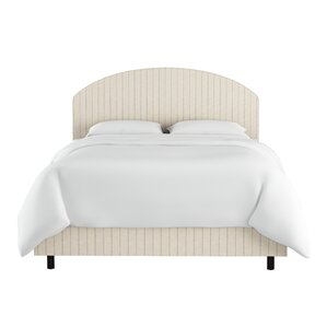 Poulin Curved Cotton Upholstered Panel Bed by Beachcrest Home