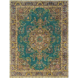 R Burnhill Vintage Distressed Overdyed Hand Knotted Wool Green Area Rug