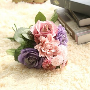 88bdcf0add86bf Artificial Roses and Dahlia with Foliage Mixed Floral Arrangement
