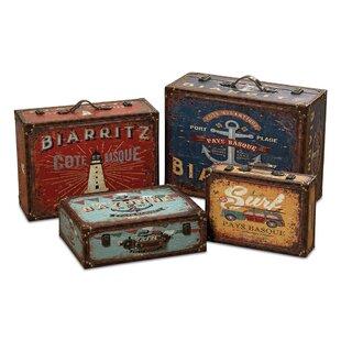 World Traveler Seaside Suitcase 4 Piece Faux Leather Storage Box Set