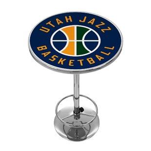 Autographs-original Steiner Lovely Utah Jazz Glass Basketball Display Case Logo On Court Background