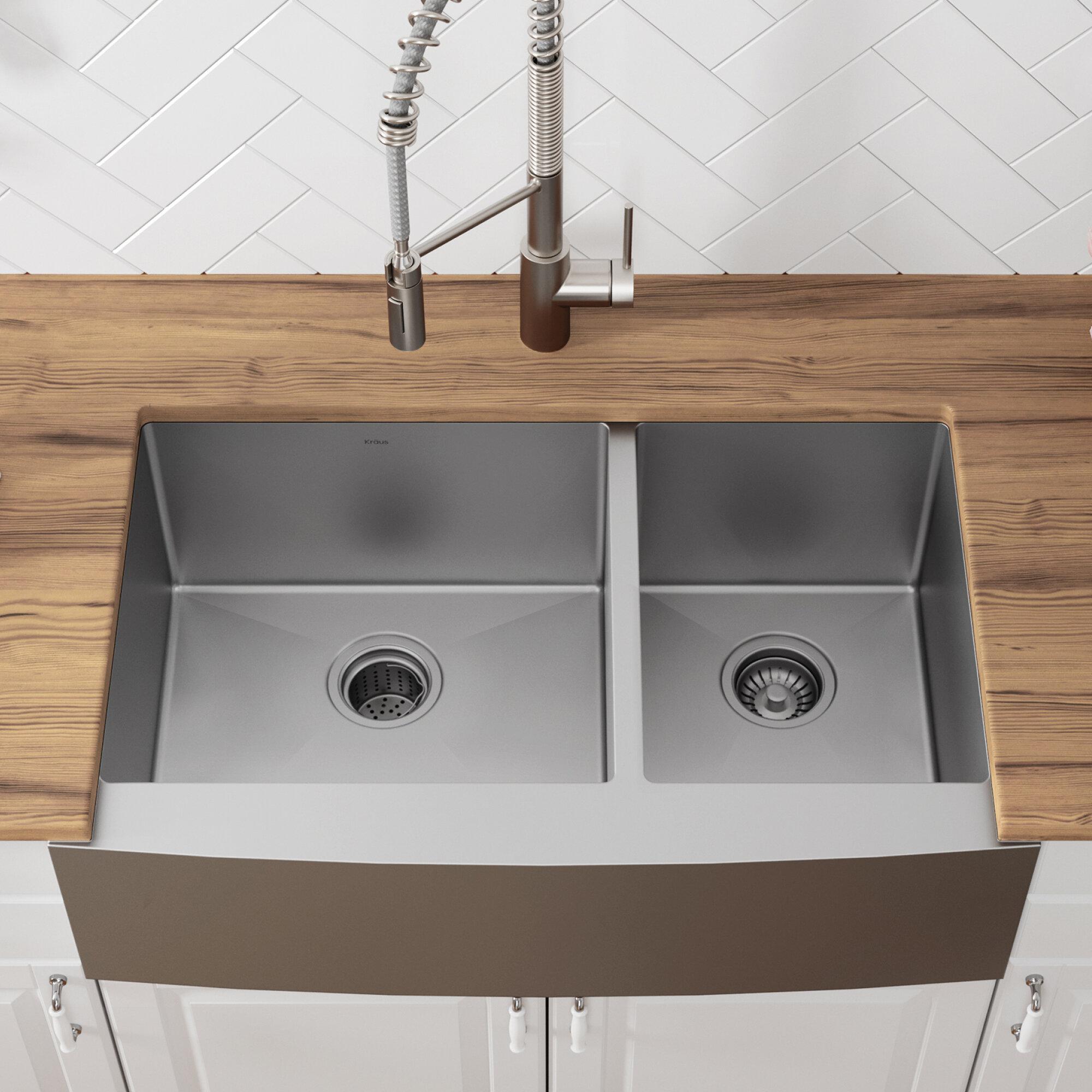 Astonishing 36 L X 21 W Double Basin Farmhouse Kitchen Sink With Basket Strainer Download Free Architecture Designs Scobabritishbridgeorg