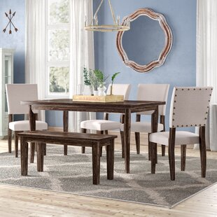 6 Piece Kitchen & Dining Room Sets You'll | Wayfair on granite dining table with bench, kitchen bench style tables, pub table with bench, kitchen dinette sets, kitchen table bench booth, kitchen table set rustic, kitchen bench set furniture, kitchen chairs with bench, small dining table with bench, kitchen table plans, kitchen bench table seat set, oval table set with bench, kitchen corner bench, drop leaf table with bench, kitchen table and chairs sets,