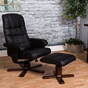 haverty soft high back manual swivel recliner with ottoman