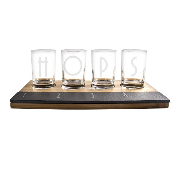 cathys concepts 6 piece bamboo and slate beer tasting flight set u0026 reviews wayfair