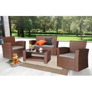 brown rattan wicker patio conversation sets you ll love wayfair rh wayfair com brown wicker patio furniture big lots Light Brown Wicker Patio Furniture