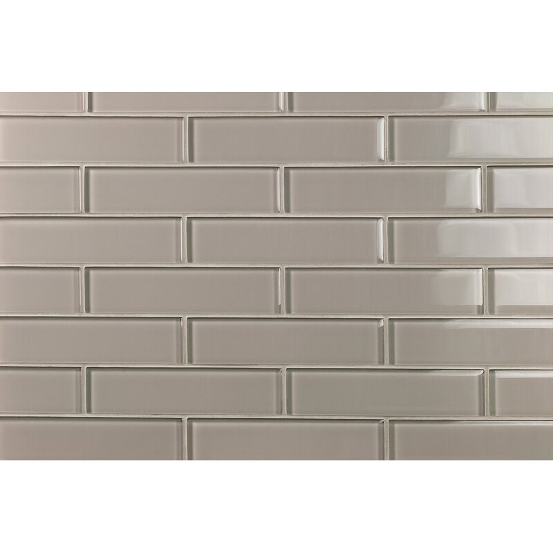 Splashback Tile Contempo 2 X 8 Glass Subway Tile In Smoky Taupe