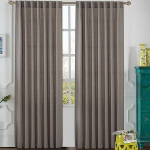 Olivia Solid Semi Sheer Tab Top Single Curtain Panel