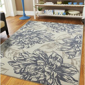 Whetzel Luxury Leaf Pattern Ivory/Gray Indoor/Outdoor Area Rug