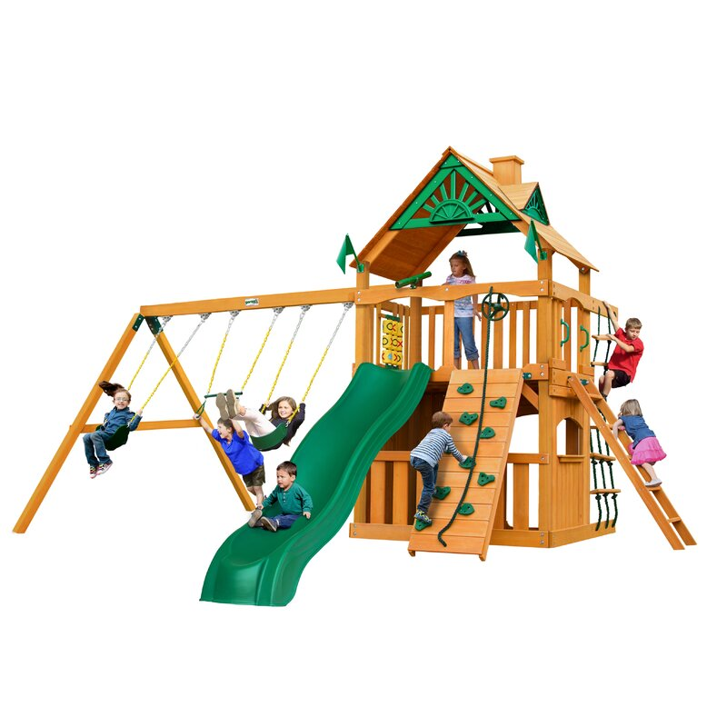 Gorilla Playsets Chateau Clubhouse Swing Set With Wood Roof Wayfair