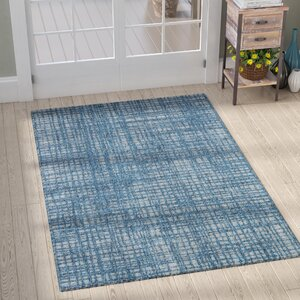 Milivoje Blue Abstract Area Rug