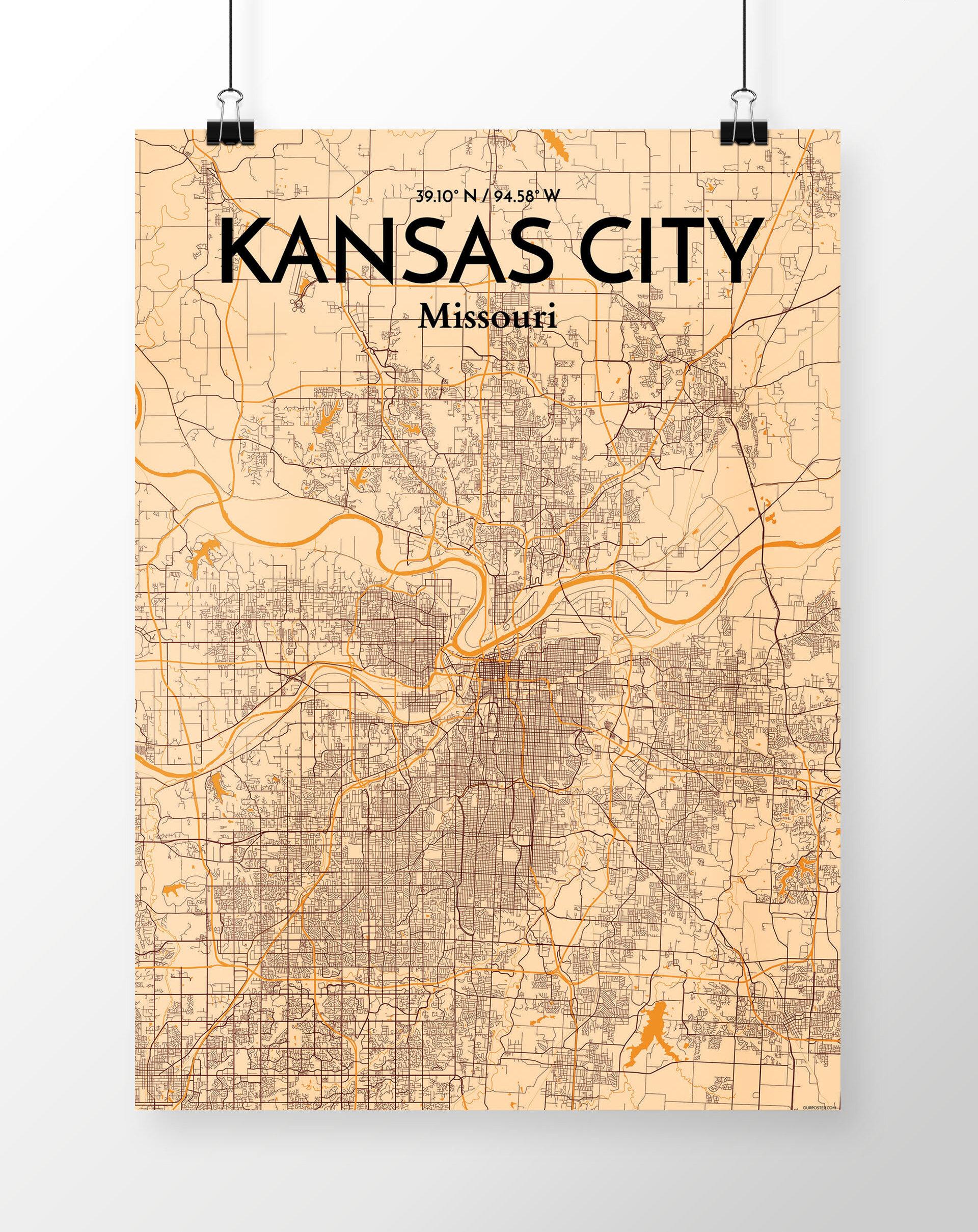 Wrought Studio \'Kansas City City Map\' Graphic Art Print Poster in ...