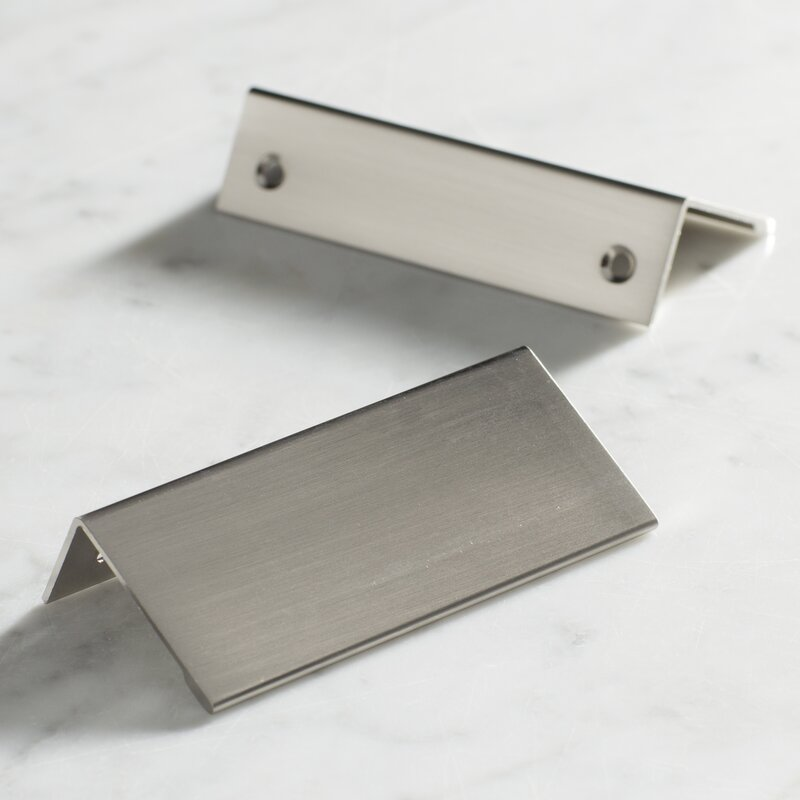 Edge Pull 3 In 76 Mm Centre To Satin Nickel Cabinet