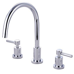 Kingston Brass Concord Double Handle Widespread Kitchen Faucet with Non-Metallic Sprayer