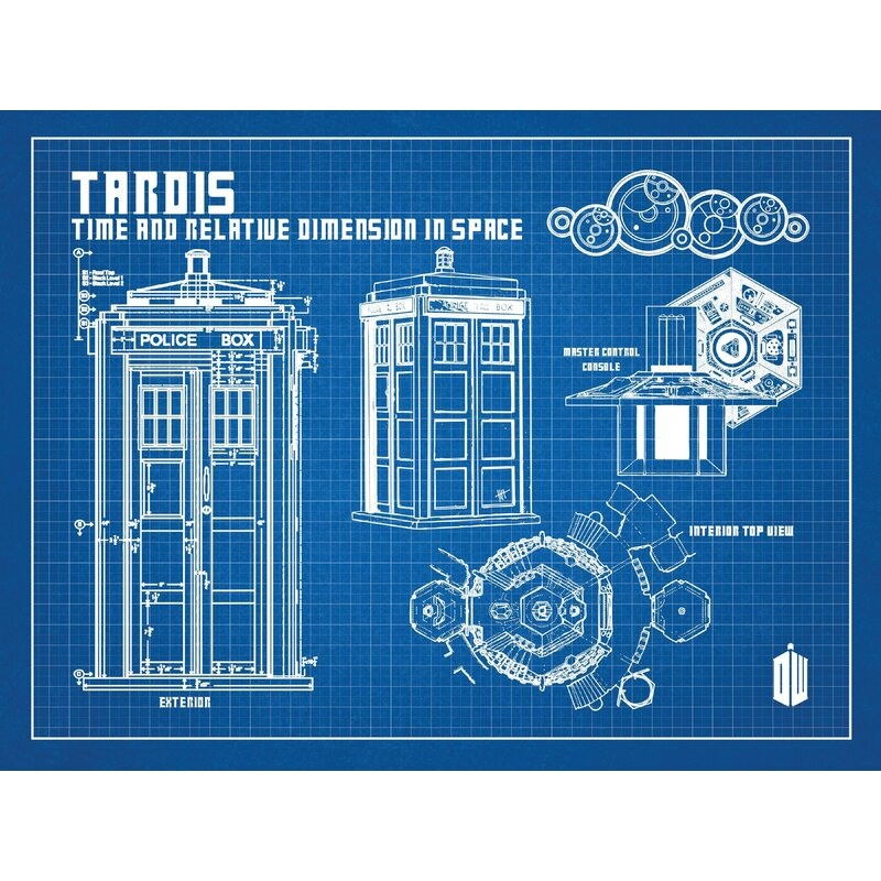 Tardis Diagram | Inked And Screened Doctor Who Tardis Blueprint Graphic Art Wayfair Ca