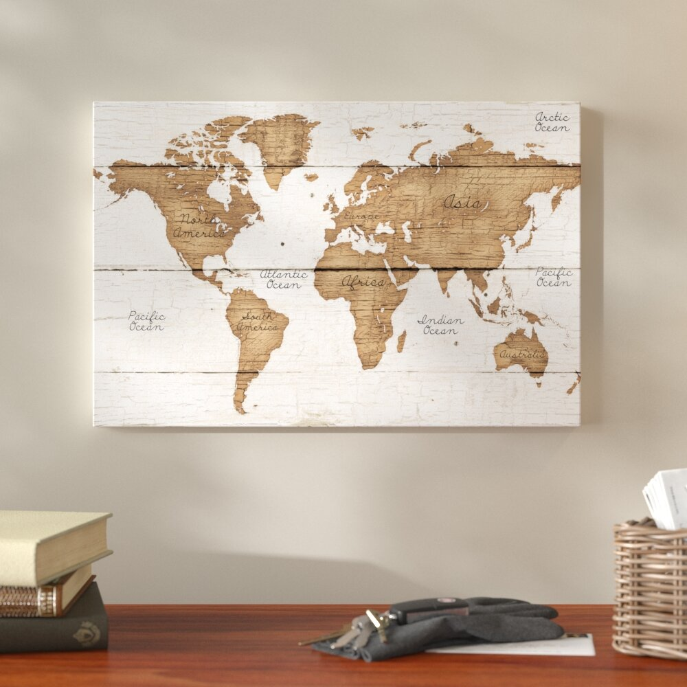 Canvas World Map Union Rustic 'Distressed World Map' Graphic Art Print on Canvas