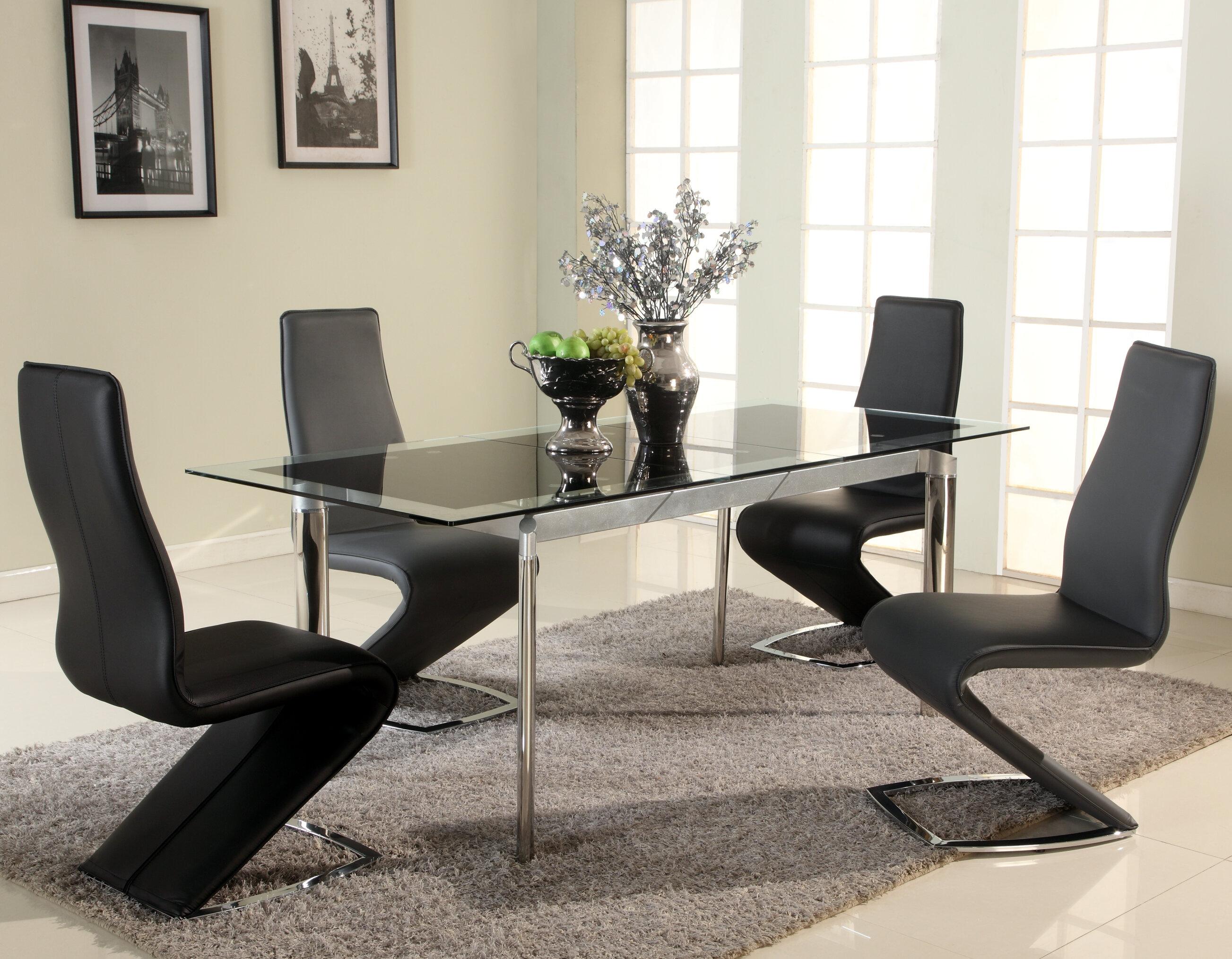 Orren Ellis Chellsey Extendable Glass Dining Table Reviews Wayfair