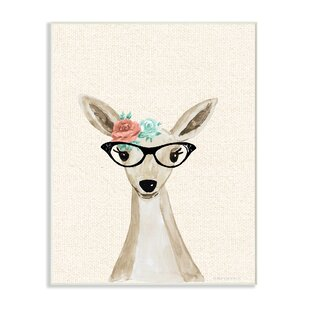 Woodland Deer With Cat Eye Glasses Wall Art
