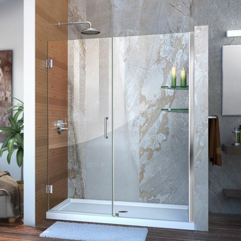 Dreamline Unidoor 57 X 72 Hinged Frameless Shower Door With