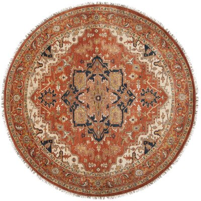 Bloomsbury Market Burlin Hand-Knotted Wool Cherry Area Rug Rug Size: Round 8'