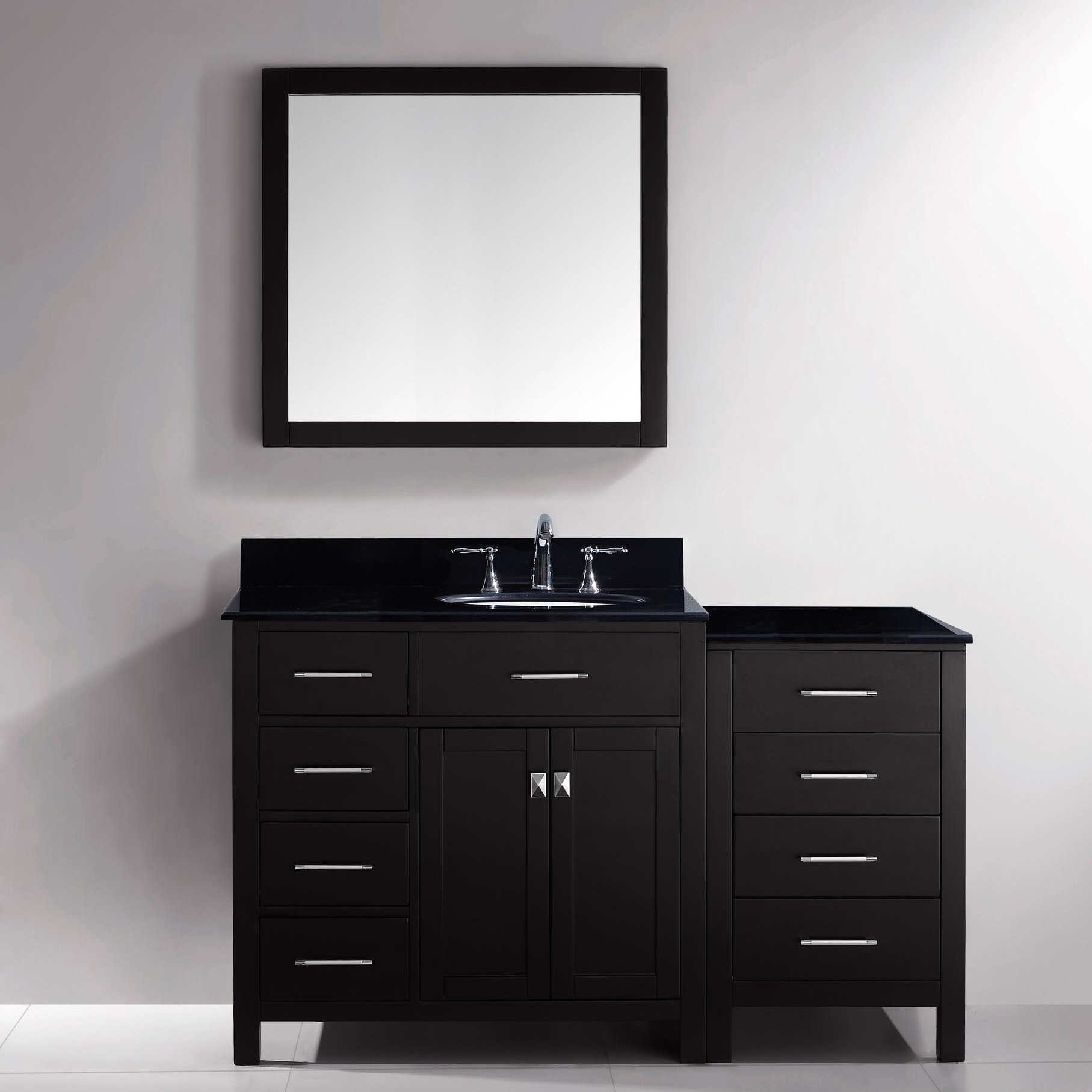Virtu bathroom accessories - Caroline Parkway 57 Single Bathroom Vanity Set With Black Galaxy Top And Mirror