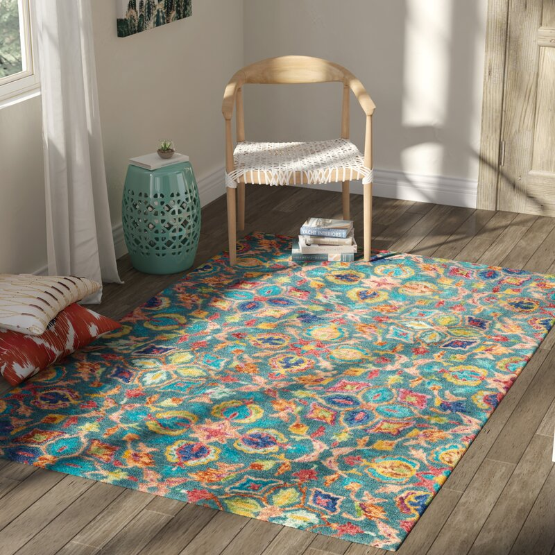 Zosia Hand Tufted Wool Teal Area Rug