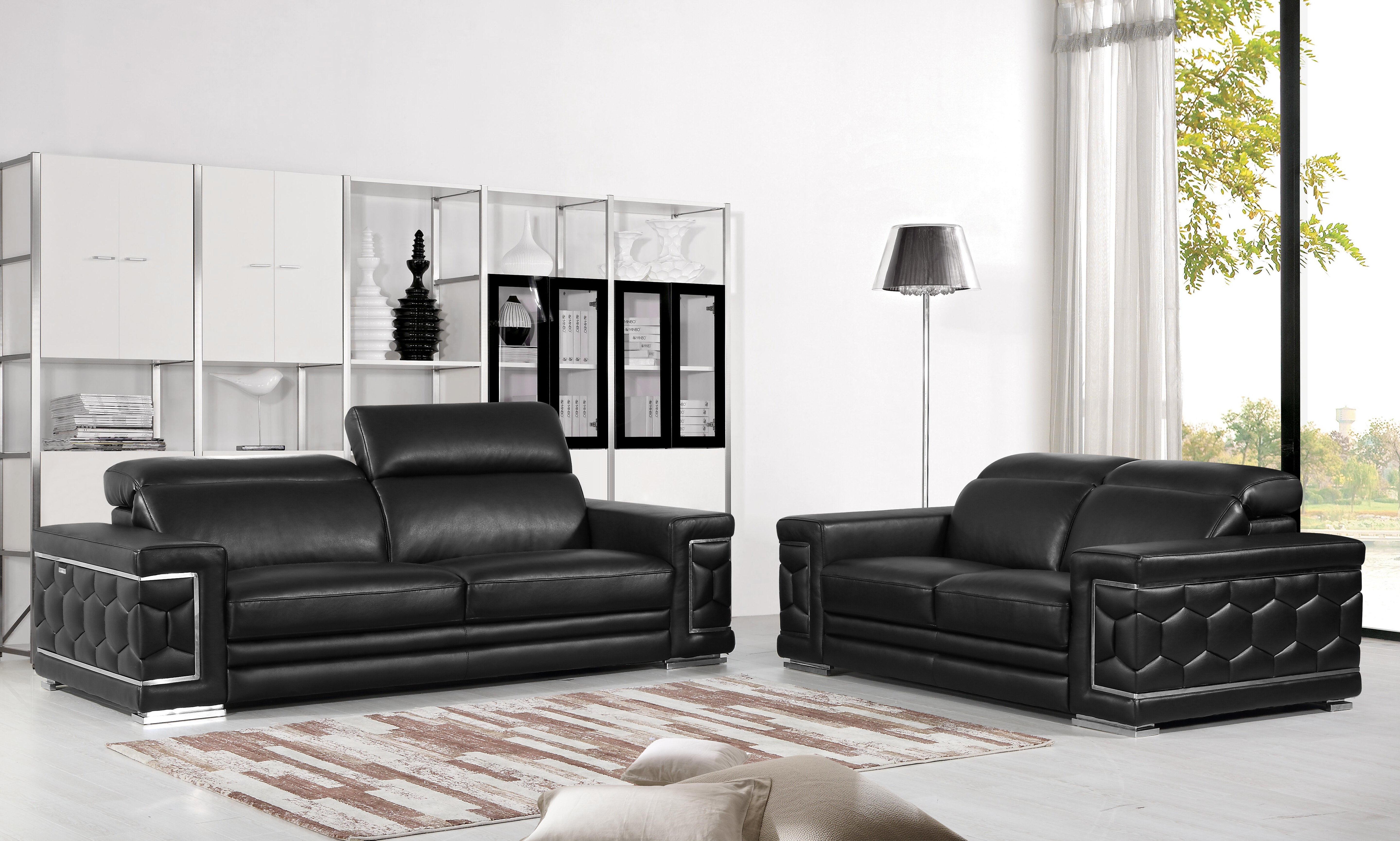 Orren ellis nicolette luxury italian leather 2 piece living room set wayfair