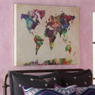U0027Urban Watercolor World Mapu0027 Framed On Beige Canvas