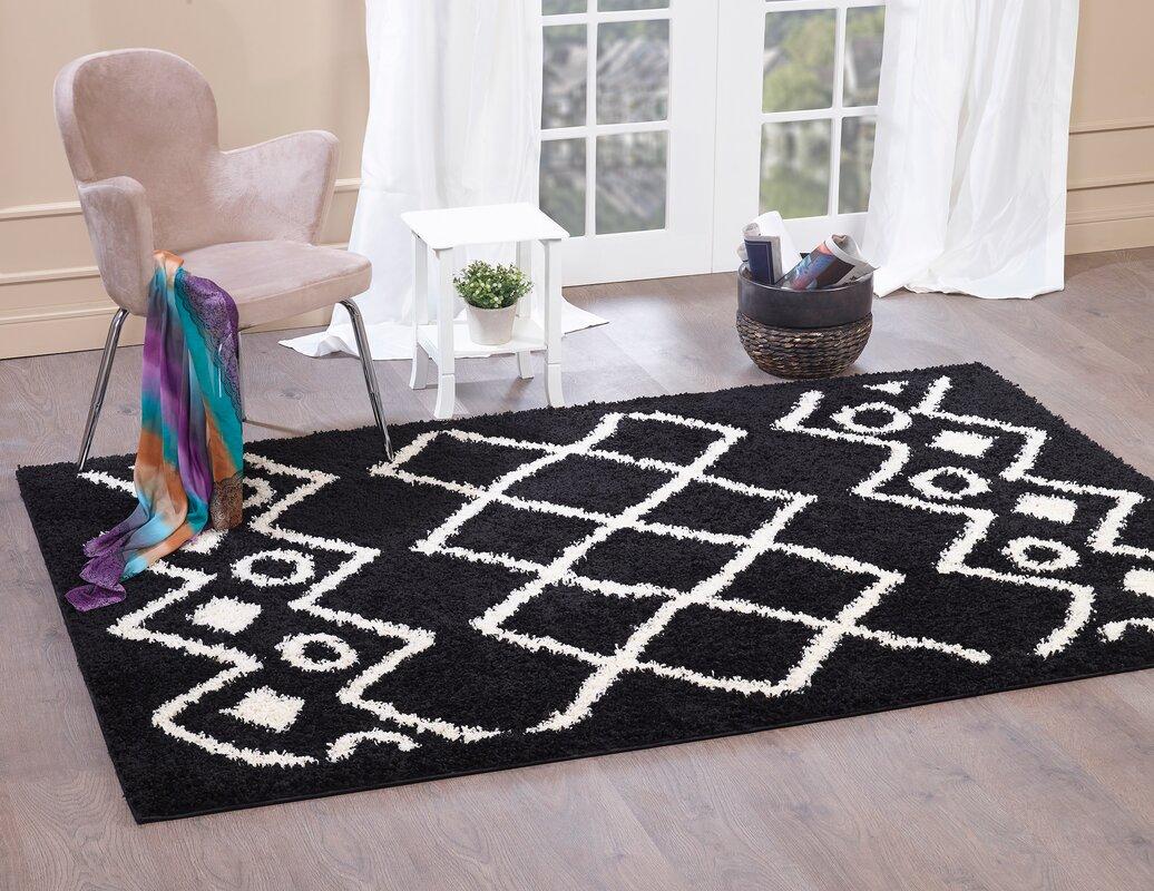 norden home shaggy teppich aidric in schwarz. Black Bedroom Furniture Sets. Home Design Ideas