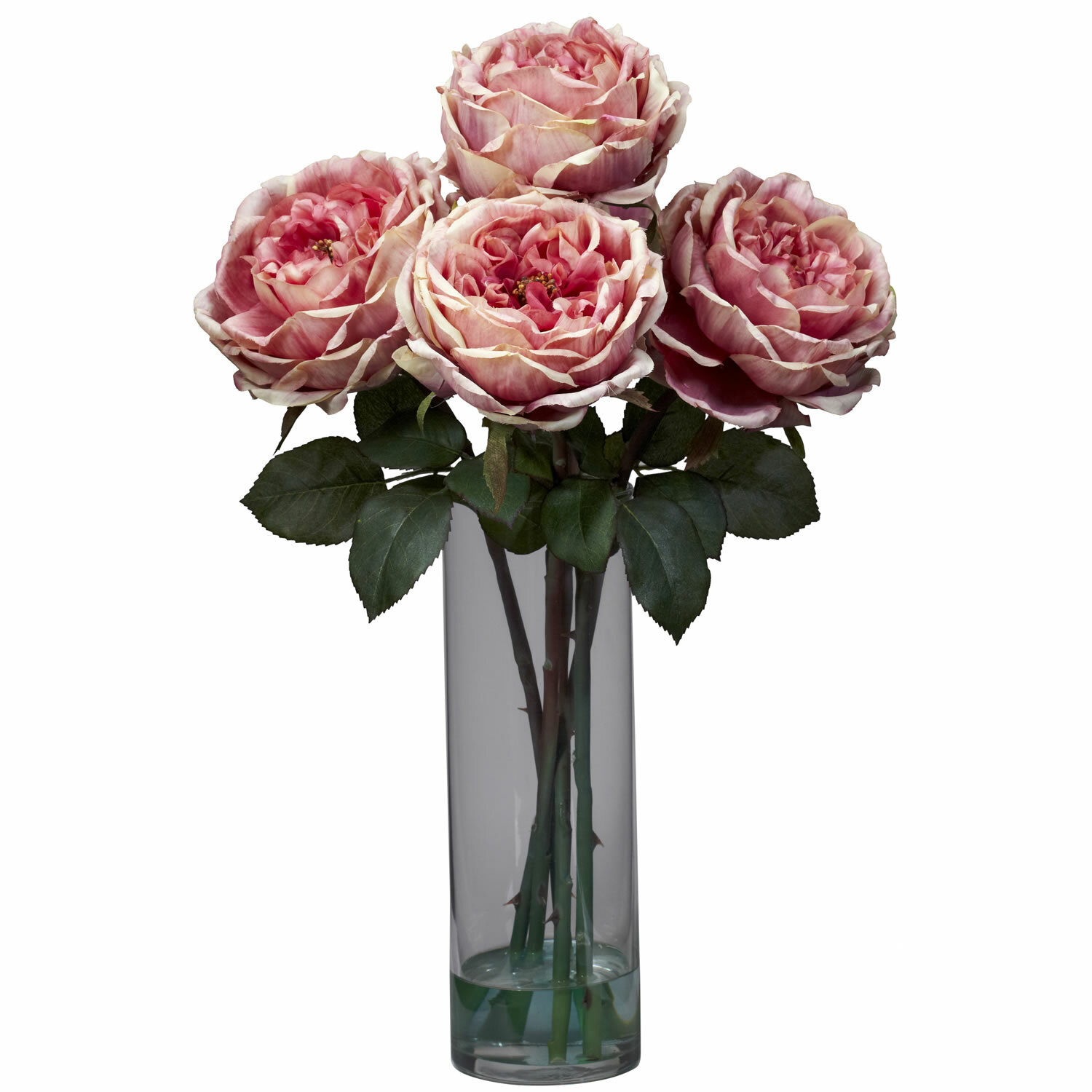 Nearly Natural Fancy Rose With Cylinder Vase Silk Floral