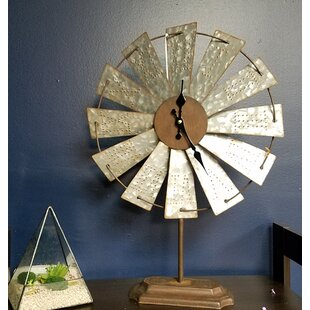 Metal Windmill Tabletop Clock
