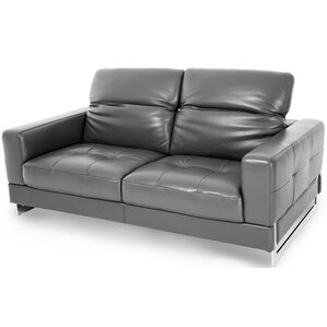 Mia Bella Novelo Leather Loveseat by Michael Amini (AICO)