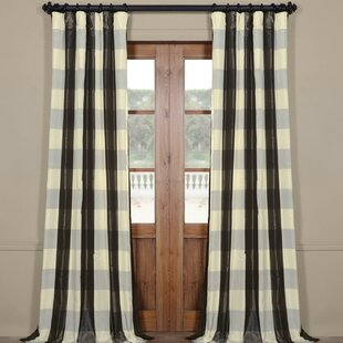 Canale Faux Silk Plaid Thermal Single Curtain Panel
