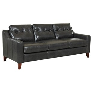 Button Tufted Leather Sofa Wayfair