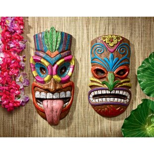 w tiki prosperity decor fijian hawaiian mask turtles