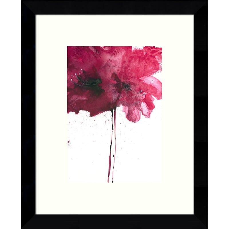 Latitude Run Red Floral I Framed Wall Art Wayfair