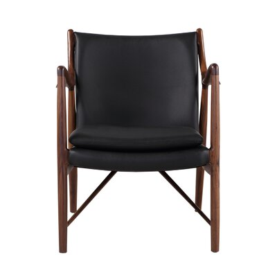 Rashad Armchair Corrigan Studio Upholstery: Black Italian Leather/Walnut