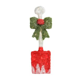 Lighted Tinsel Snow Shovel with Bow Christmas Window Decoration Lighted Display