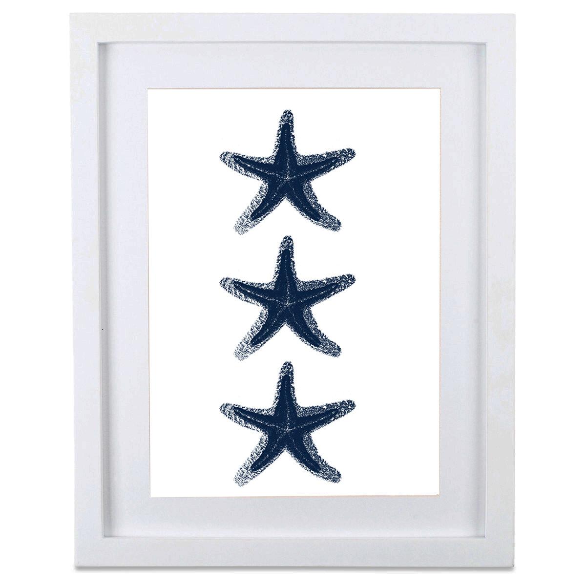 SafiyaJamila Starfish Trio With Mat Framed Graphic Art | Wayfair