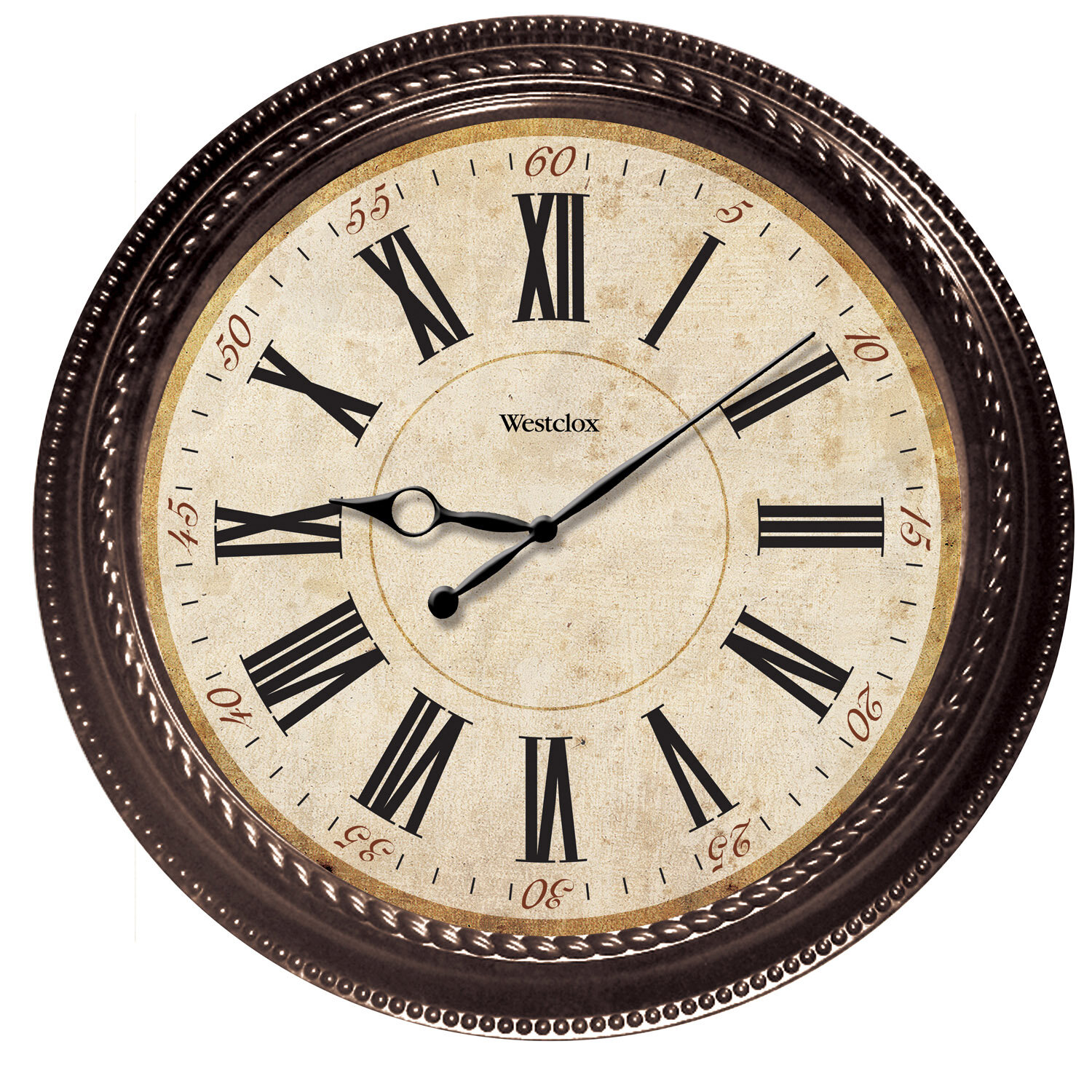 World Menagerie 20 Brown Round Marbled Case Roman Numeral Wall Clock Reviews Wayfair