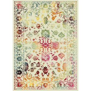 Auston Anti-Bacterial Cream/Pink/Green Indoor/Outdoor Area Rug