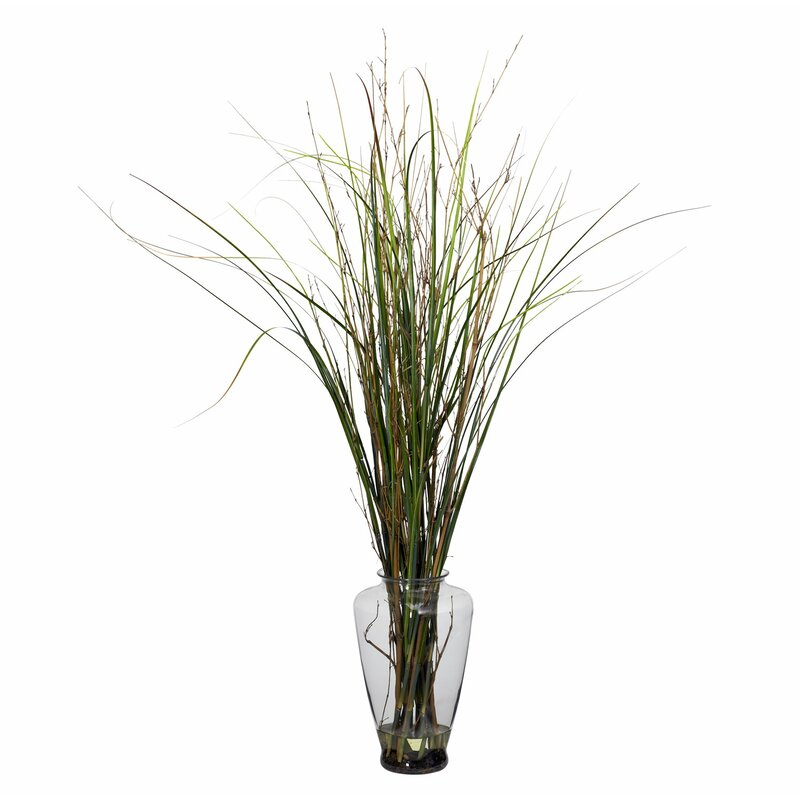 Nearly Natural Grass And Bamboo Floor Plant In Decorative Vase