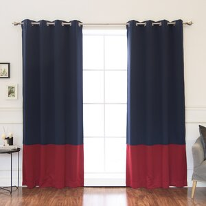 Colorblocku00a0Insulated Striped Blackout Thermal Grommet Curtain Panels (Set of 2)